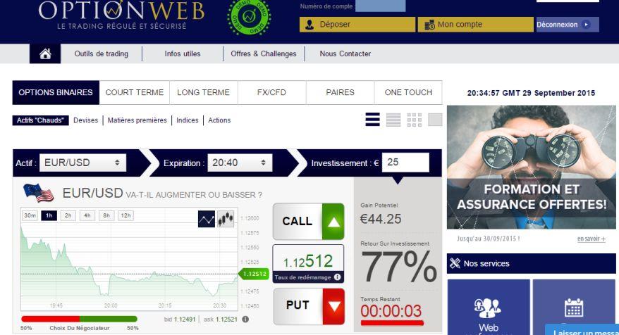 trading en ligne option binaire