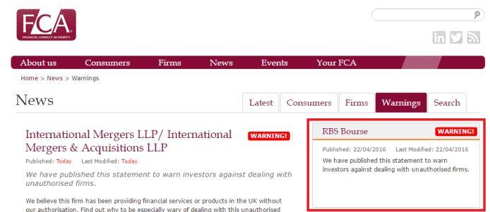 RBS Bourse FCA